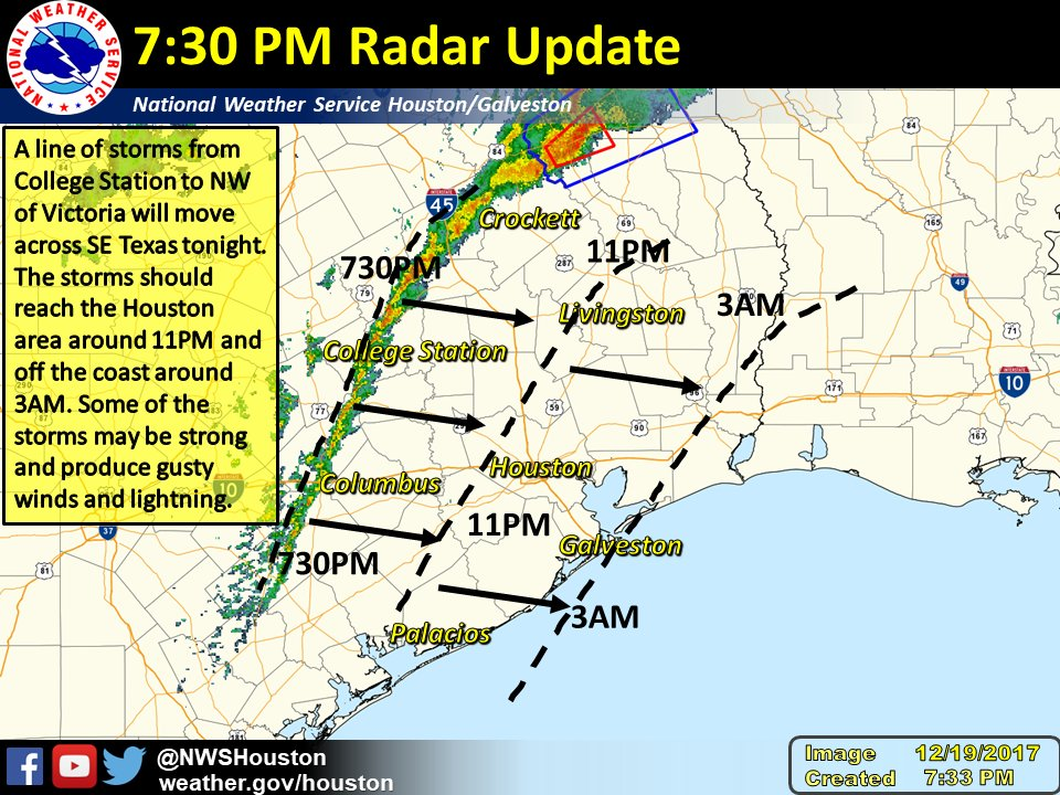NWS Houston on Twitter 735PM Radar update a line of storms has