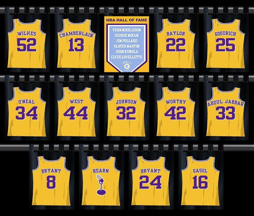 753ea9a31a4 jeaniebuss now that  KobeBryant s jerseys are hanging in the  Lakers  rafters when will you add  PauGasol s  16 to the legendary collection pic. twitter.com  ...