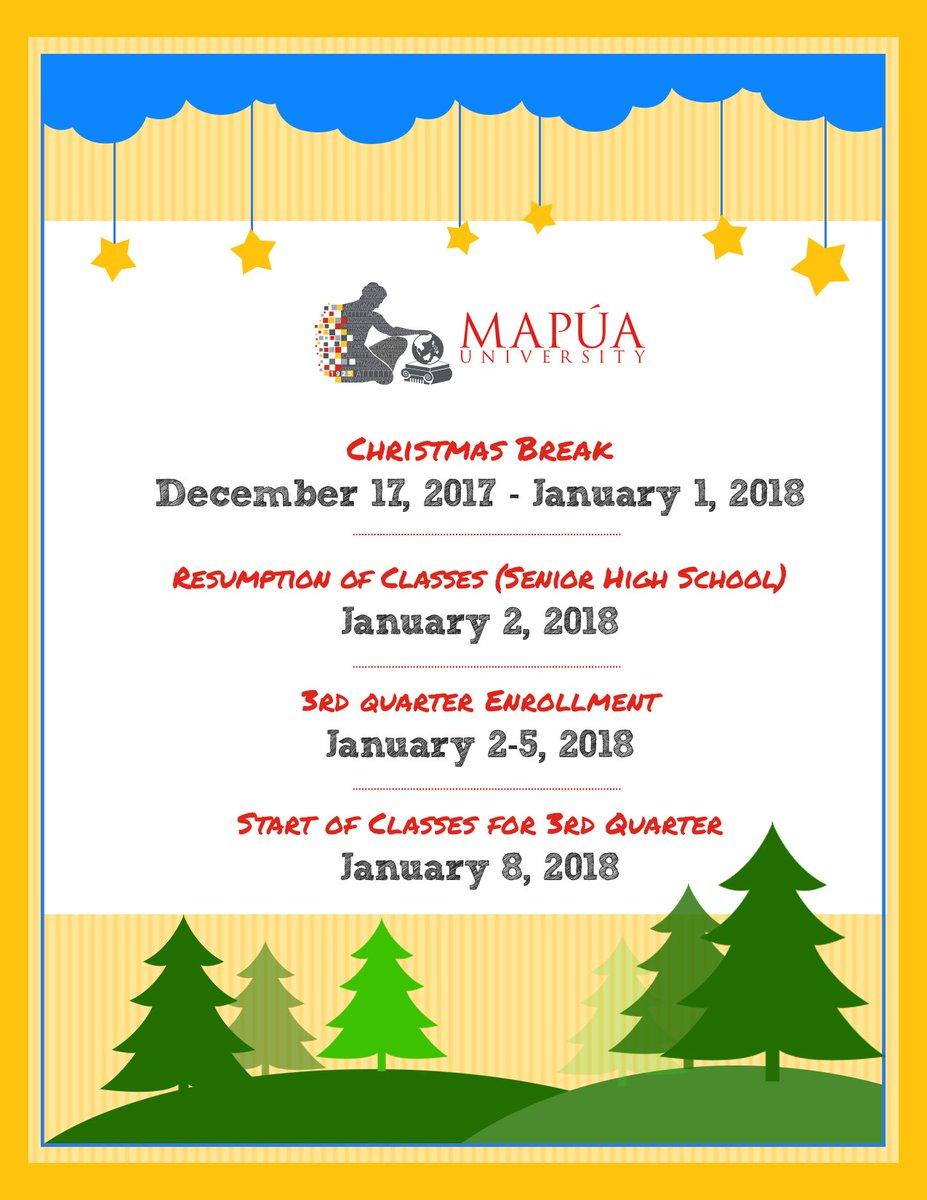 Mapua University On Twitter Advisory Christmas Break For Students