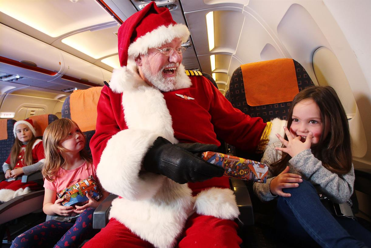 Santa swaps his sleigh for a plane with EasyJet's in-flight grottos