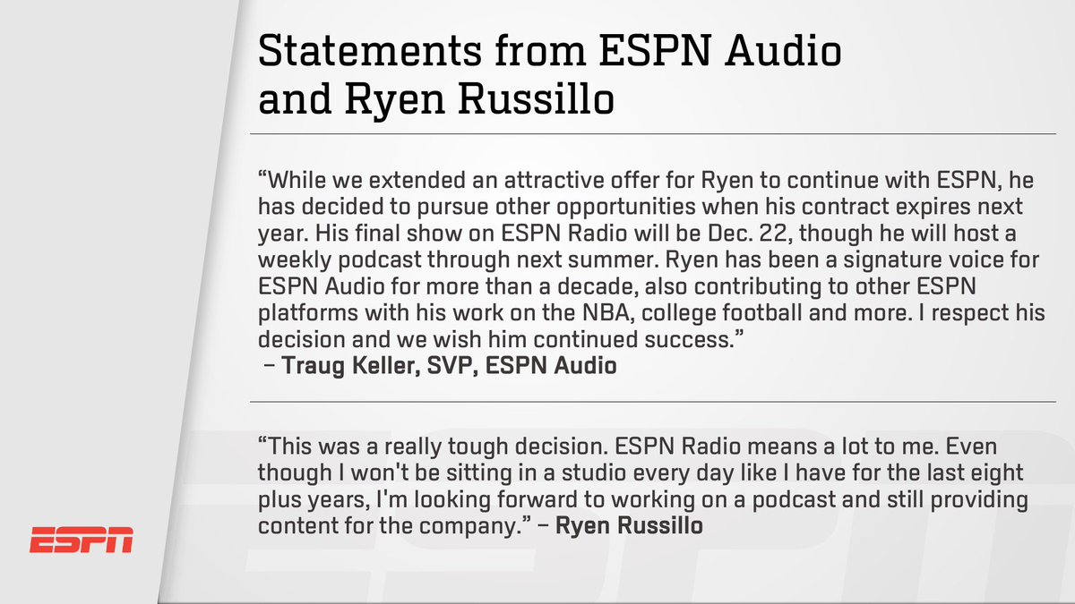 Ryen Russillo Leaving ESPN Radio