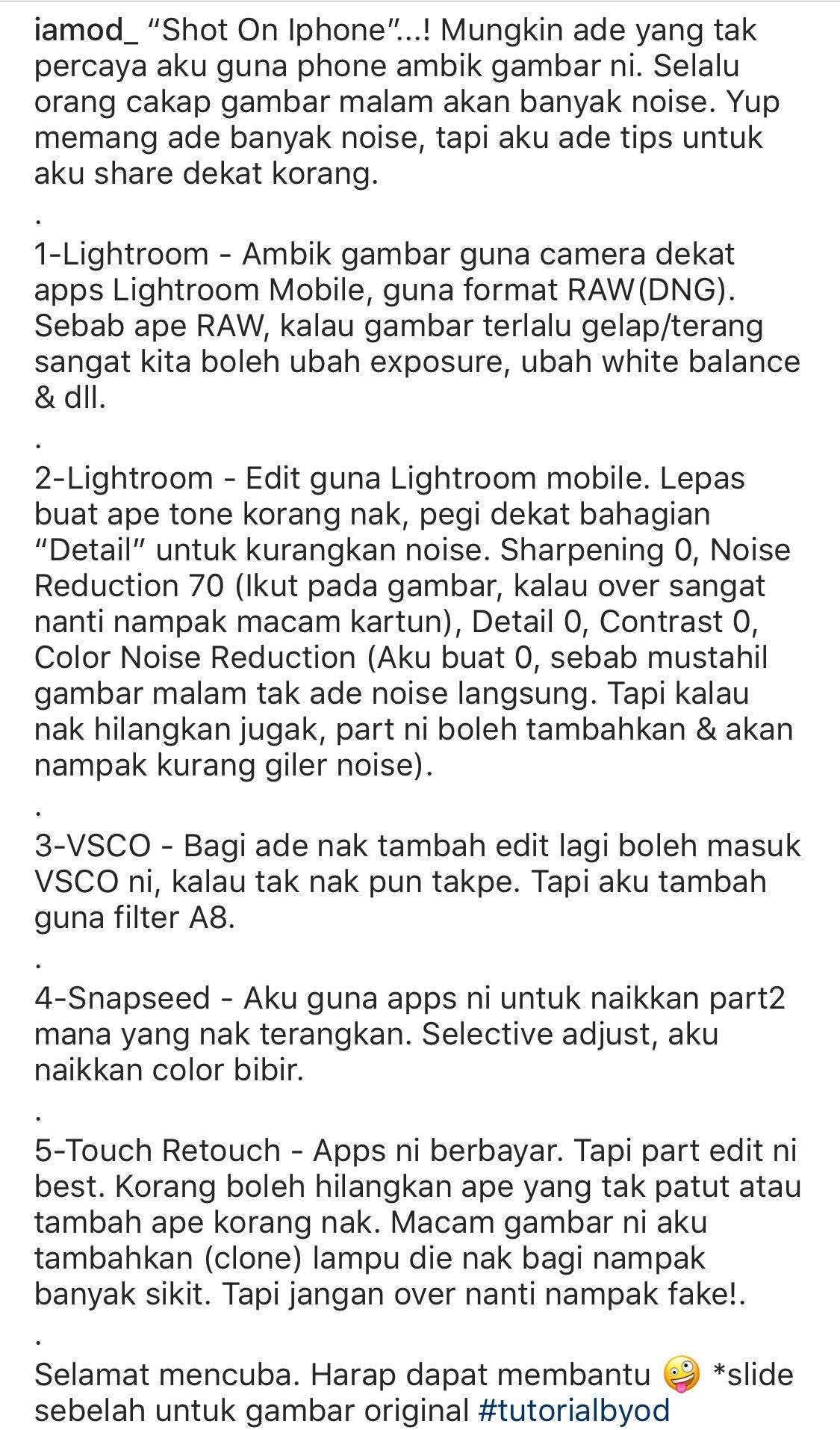 """𝗢𝗗 🦊 on Twitter """"Tips ambik gambar malam guna phone & Edit bagi cun guna """"Mobile lightroom"""" Harap bergunalah untuk korang"""