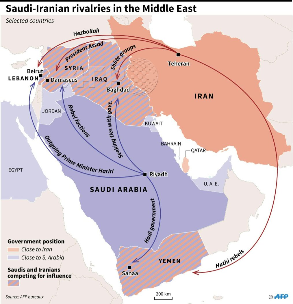 Tehran Middle East Map.Map Of The Middle East Showing Allies Of Saudi Arabia And Of Its