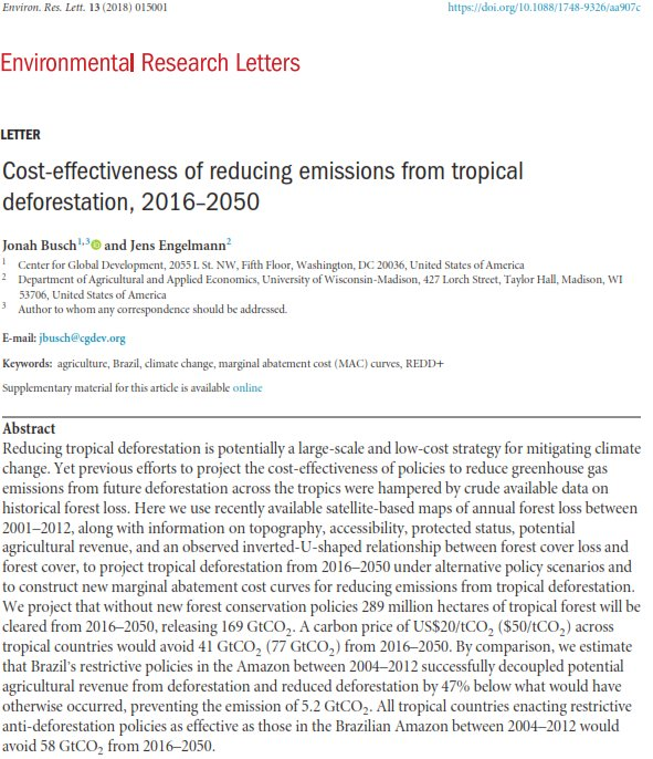 jonah busch on twitter new paper in environmental research letters cost effectiveness of reducing emissions from tropical deforestation