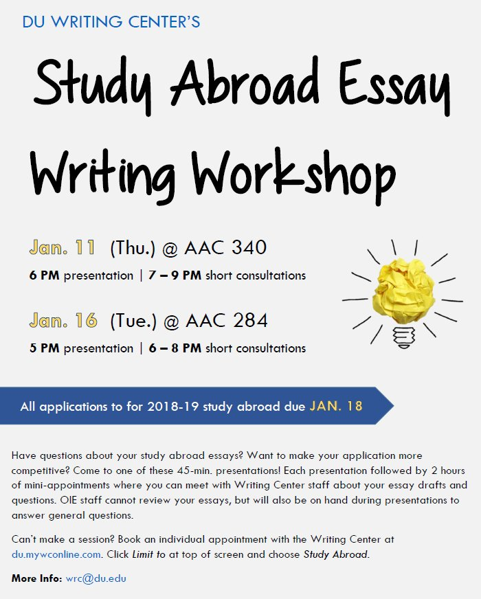 du study abroad duabroad twitter  mini appts where you can ask writing center staff about your essay oie staff can t review essays but will answer general qspic com j3plkzawwb