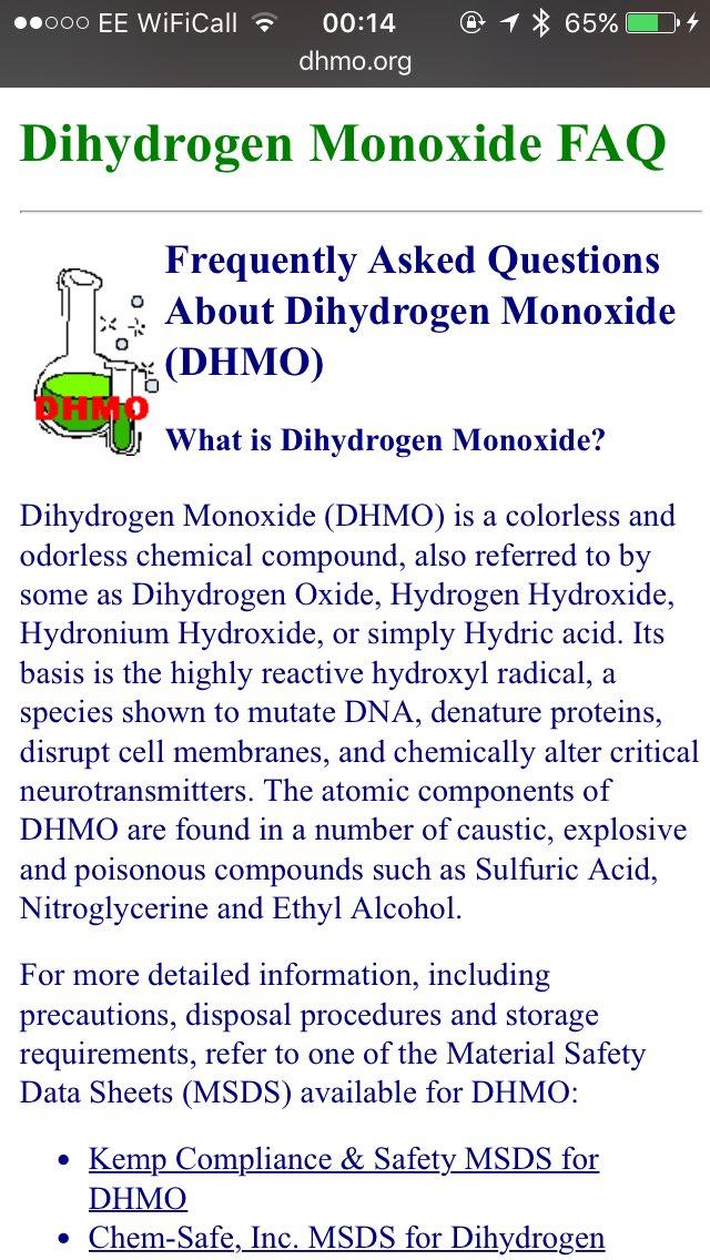 paul mccormack on twitter facts about dihydrogen monoxide