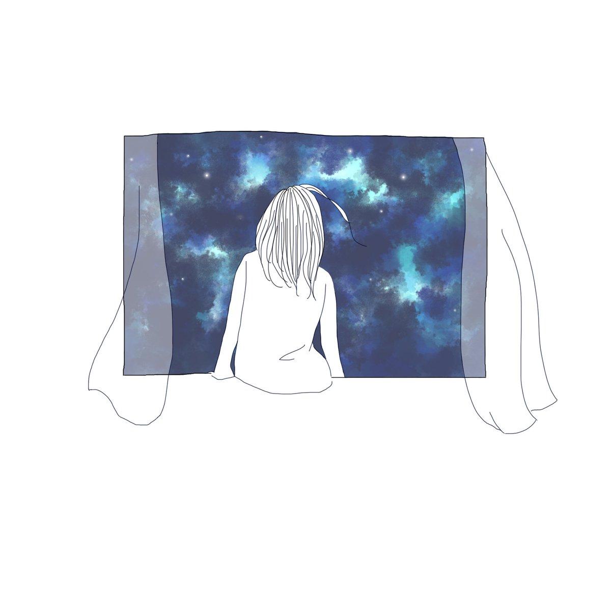 夏 در توییتر 遠くて綺麗 近すぎて見えない 星 星空 夜空 夜 窓辺 少女 イラスト イラストレーター イラスト好きな人と繋がりたい Star Night Stars Illustration Illustrator