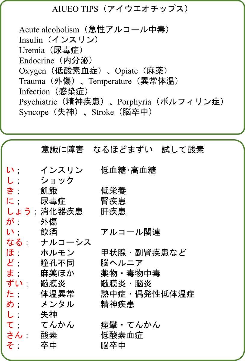 "OJ☆ Twitterren: ""意識障害の原因として、「AIUEOTIPS」や「意識に ..."