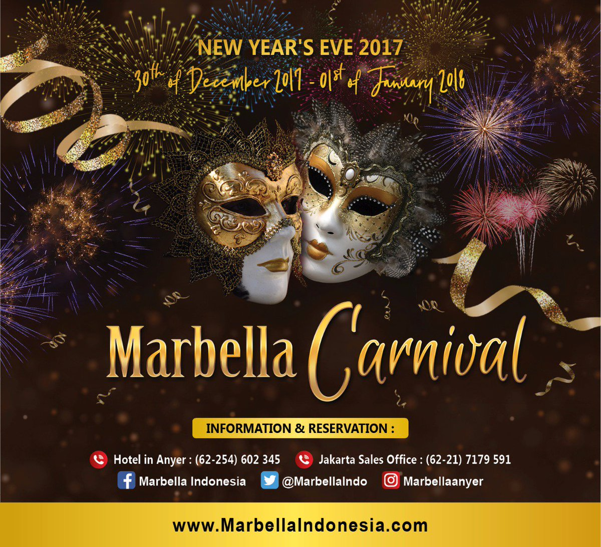 Marbella Indonesia Marbellaindo Twitter Voucher Hotel Convention And Spa Anyer Dont Miss The Carnival A Garden Pool Extravaganza New Years Eve Party Put Your Best Costume Join Crowds