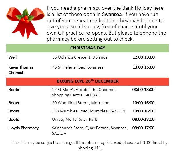 abmu health board on twitter if you need a pharmacy over the christmas bank holiday here is a list of pharmacies open in the swansea area - Pharmacy Open Christmas Day