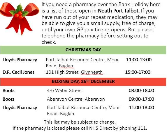 Pharmacy Open Christmas Day.Abmu Health Board On Twitter If You Need A Pharmacy Over