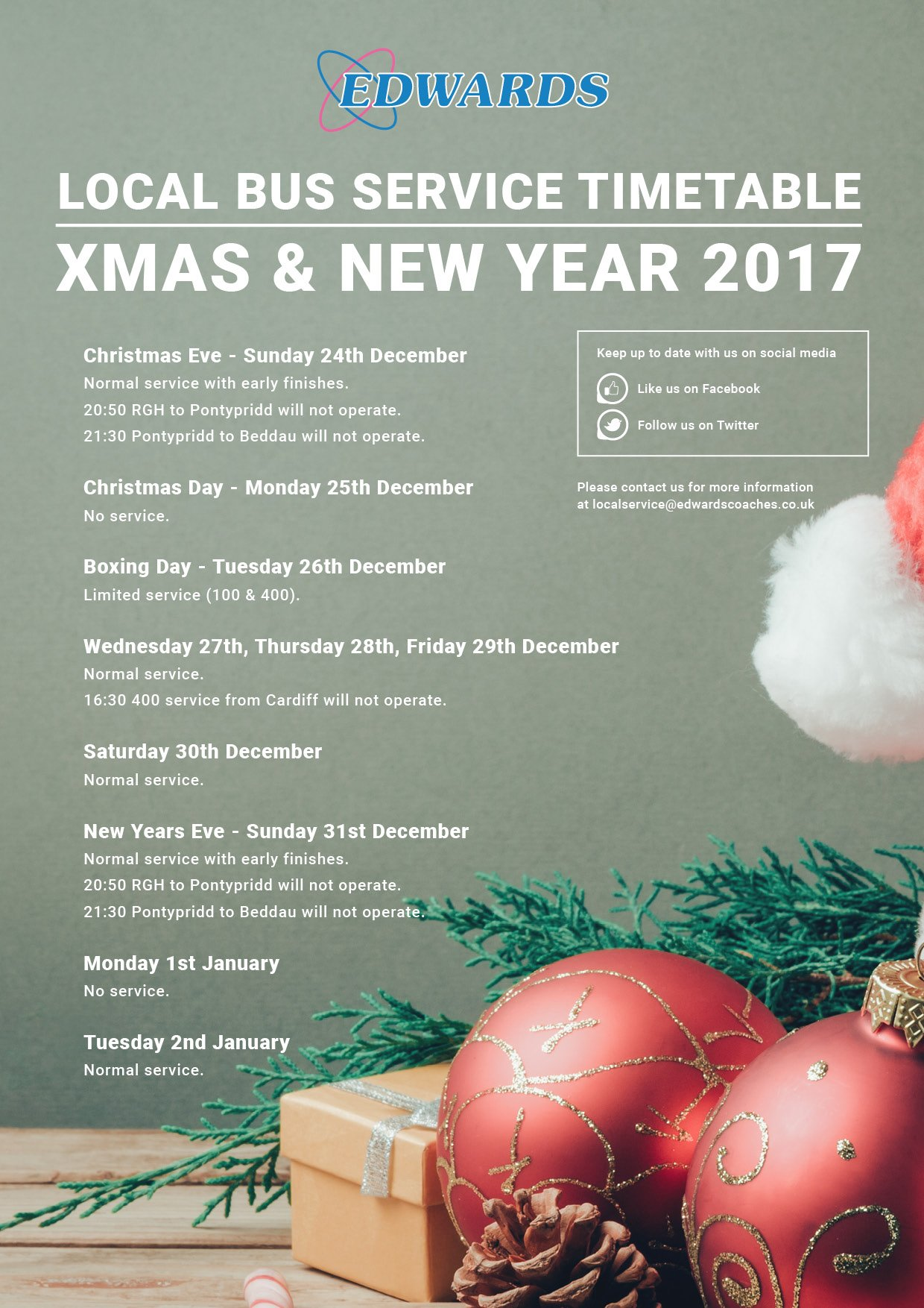 Edwards Coaches On Twitter Christmas New Year Please See Below Our Travel Shop Opening Hours Local Bus Service Timetable Over The Festive Period Https T Co Lonqmoy4yq