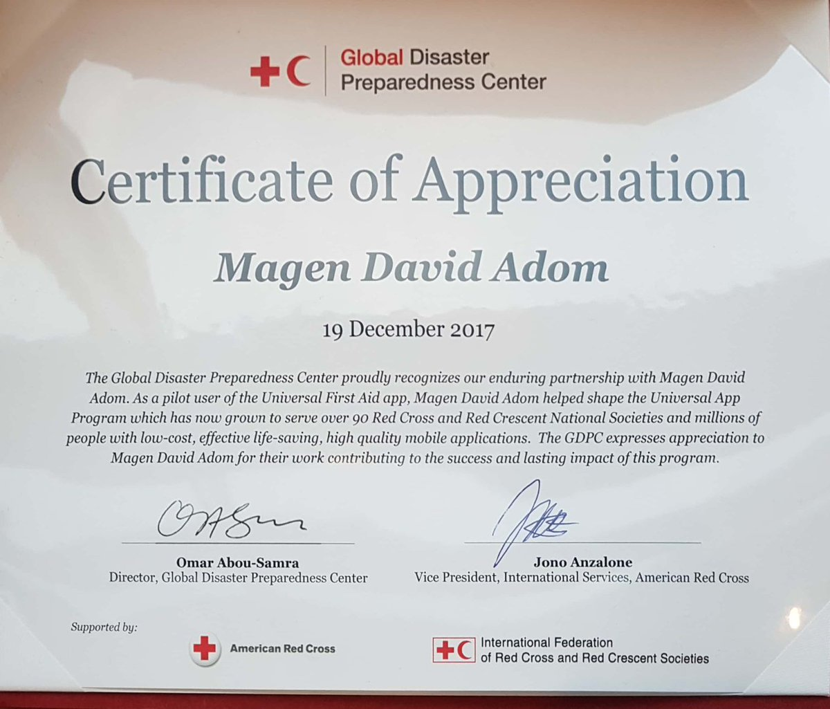 Magen david adom on twitter the global disaster preparedness the app is used by 90 red cross societies and millions of users redcarpetthurs icrc perrceventpicitteriltc3v6ele xflitez Images