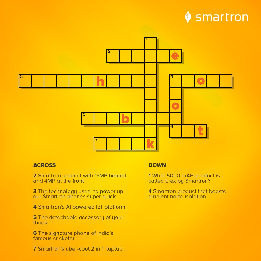 Smartron On Twitter Solve Our Product Crossword And Reply Your