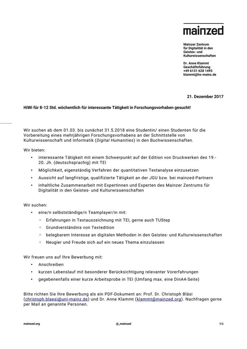 bewerbung schreiben studentin digitalhumanities tei tustep xml fr projekt in _mainzed kontext mit digicademy 8 12 std p woche ab mai 2018 - Uni Mainz Bewerbung