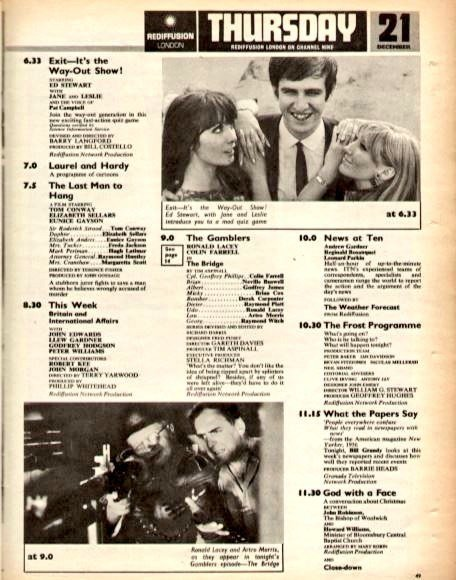 "Graeme Wood on Twitter: ""TV📺21/12/67 ITV 6.9:Crossroads 6.33:Exit ..."