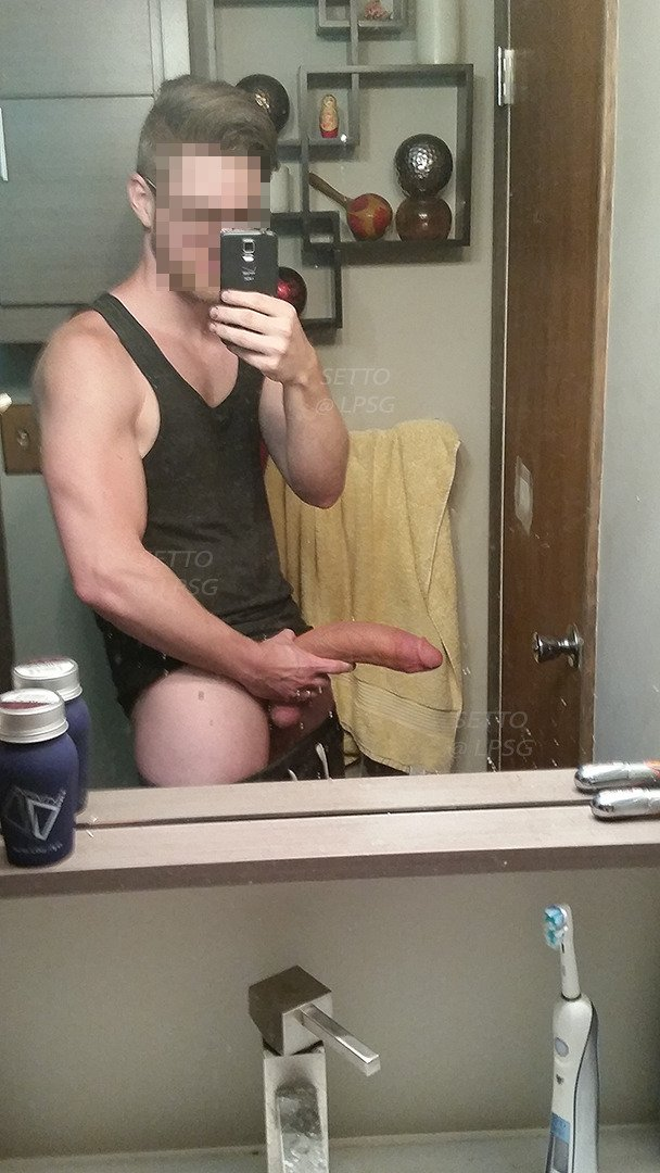 Very big dick in the mirror