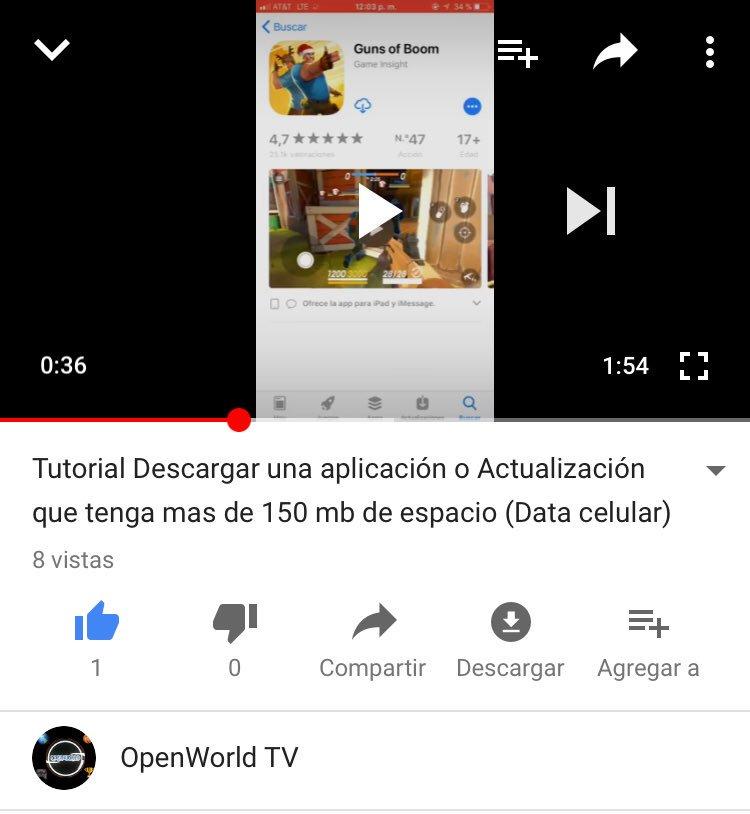 Si No saben como descargar con la data de tu celular un app con tanto MB ( AQUI ESTA LA SOLUCIÓN)  https://youtu.be/fqABCyaIwvc nombre: OpenWorld TV #FelizNaviMAS #Tecnologia #PorSiTeLoPerdiste #MisionNavidad #PuertoRico #Latino #Tutorial #Descargar #Tutorials