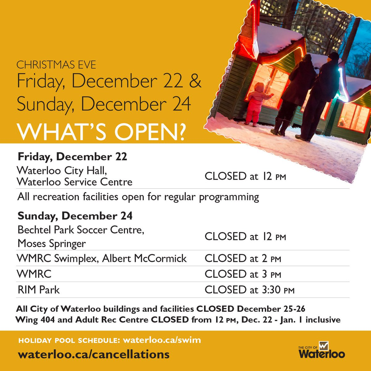 city of waterloo on twitter find out what is open on christmas eve and over the christmas holidays full details here httpstcodmj6xle60d - What Is Open On Christmas Eve