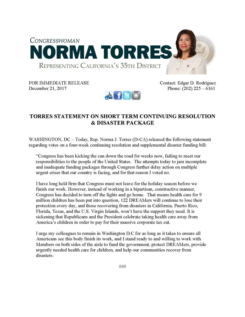 Rep  Norma Torres on Twitter:
