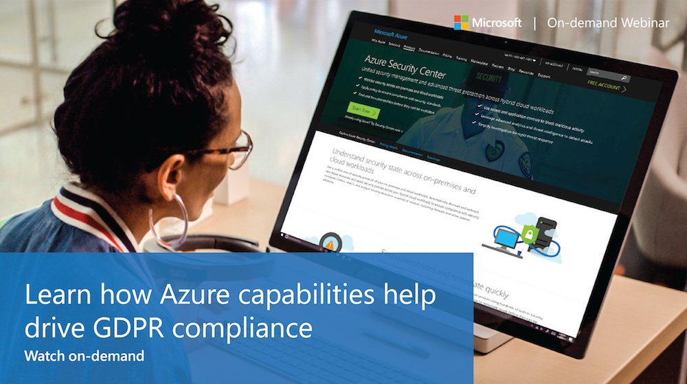 'Did you know you can use current #Azure features to optimize preparation for #GDPR compliance? Watch now: https://info.microsoft.com/ThrivingInTheGDPRera-OnDemandRegistration.html?wt.mc_id=AID625633_QSG_SCL_213162' from the web at 'https://pbs.twimg.com/media/DRmAMbbXUAEPmi1.jpg'