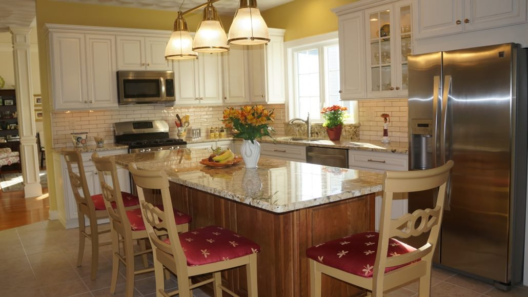 ... Cherry Cabinets With A Glaze For The Island, Summer Beach #granite  Countertops, Brushed Nickel Fixtures, + Porcelain Tile Floor ...
