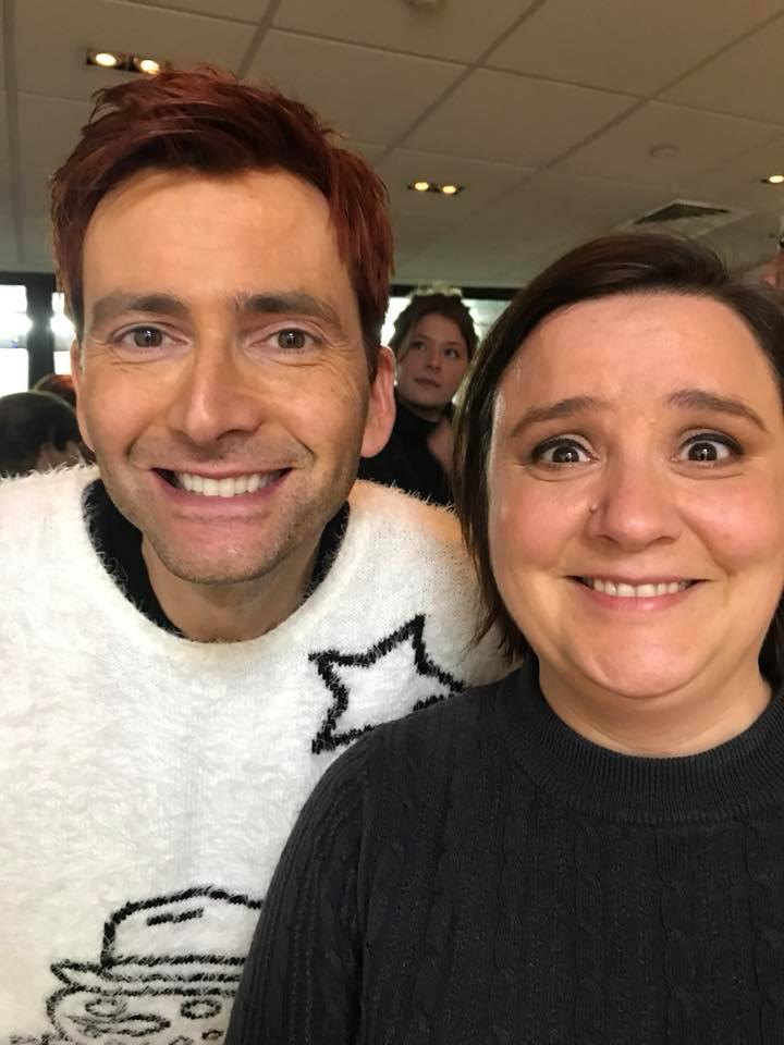 Susan Calman and David Tennant from when they filmed Miranda Does Christmas