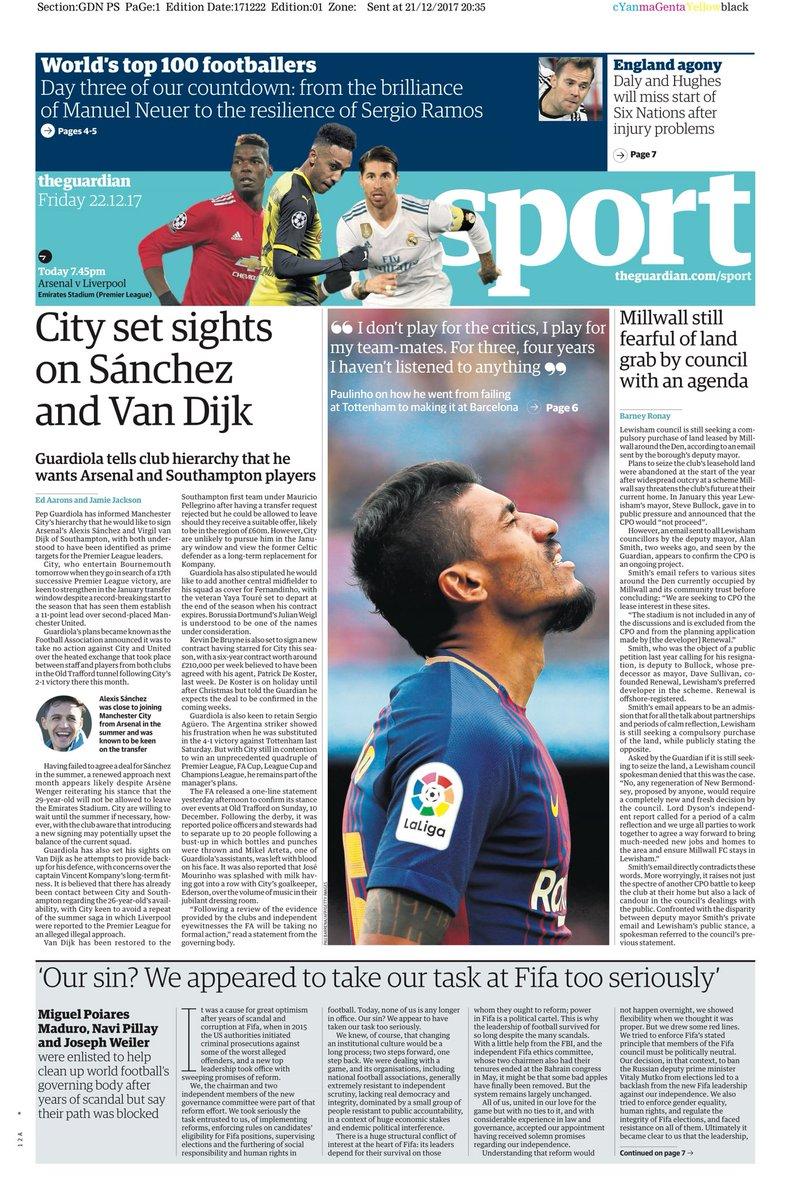 """The Guardian fångar upp en aktör med sannolikt större pondus i sina  önskemål till klubbledningen. """"City tar sikte på Sánchez och Van Dijk"""" är  dagens största ... d0f05c83aee94"""