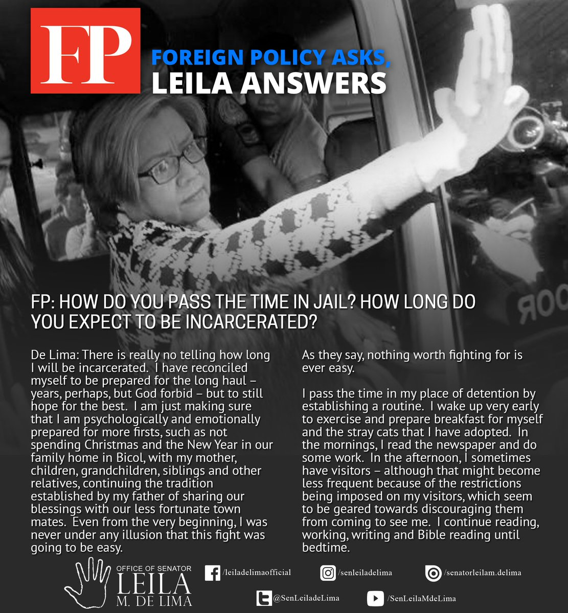 Leila de lima on twitter icymi excerpts from the q and a with leila de lima on twitter icymi excerpts from the q and a with foreign policy magazine on bestowing upon her the global rethinker award for 2017 publicscrutiny Gallery