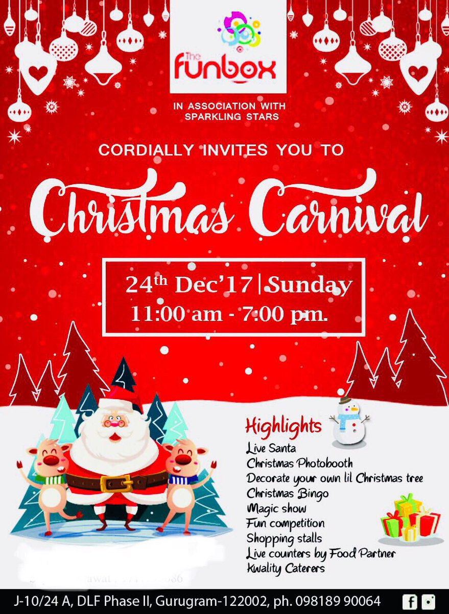 The Funbox On Twitter The Funbox Is All Decked Up For The Christmas Carnival Join Us For A Fun Filled Day With All The Christmas Festivities Including Live Santa Indoor