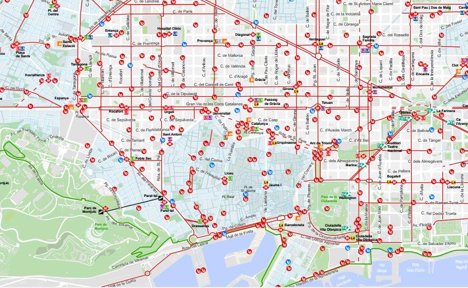 Mapa Carril Bici Barcelona.ট ইট র En Bici X Barcelona Actualitzem Al Web