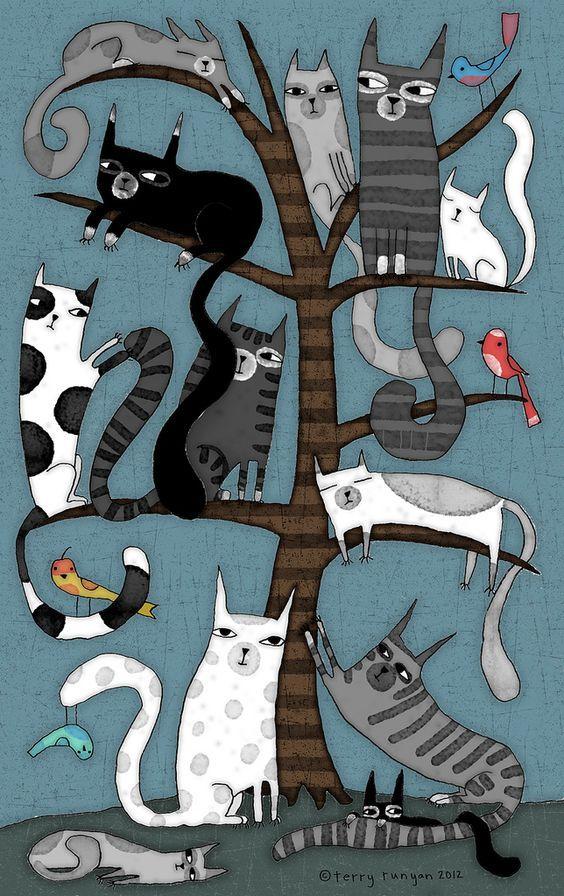 Необычные открытки с котами
