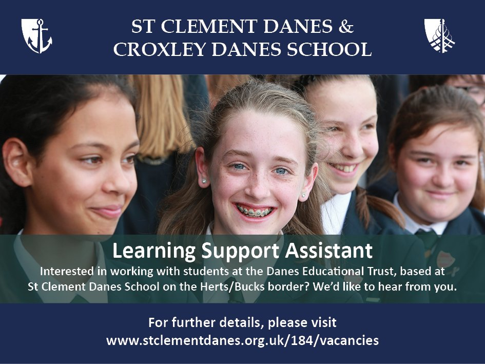 Learning Support Assistant required at St Clement Danes School. A great opportunity to work with fantastic students in a supportive team. Details: https://t.co/L0Ca92pe4d https://t.co/J5PSsQeTW9