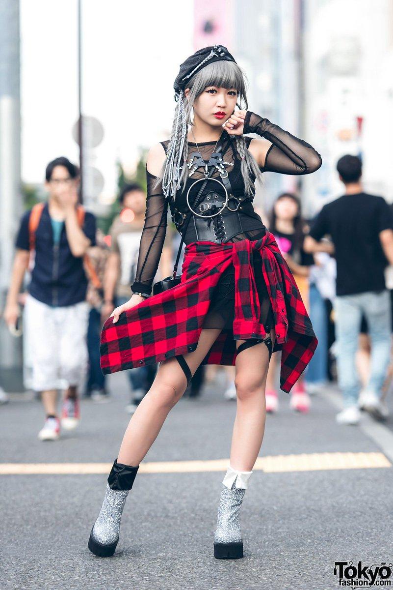 badfa6b7c2c japanese singer amp monster girl in harajuku w myob shoe laces beret unif  jeffrey campbell g2