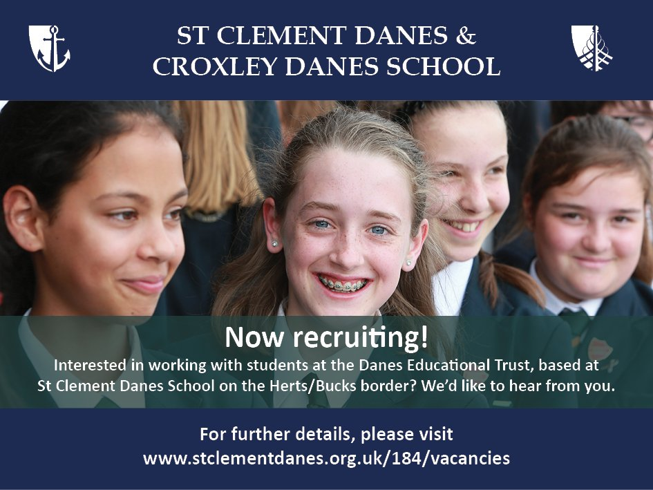 Last chance to apply for a range of opportunities at the Trust: Supply teacher, LSA, Teachers of English and Maths and KS3 Co-ordinator of English. All based at St Clement Danes. Details: https://t.co/L0Ca92GPsN https://t.co/uSrH6JjQwK