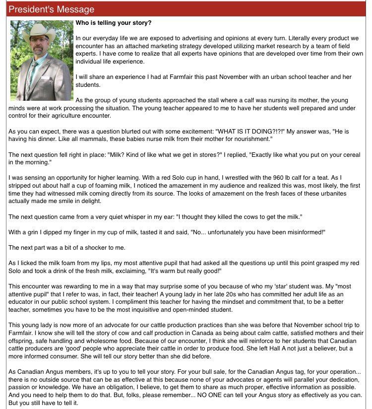 Please check out (and 'share', if you will) the latest message from @CDNAngus President Brett Wildman: #tellingyourstory @kajdevani @tzakowsky @KelteyWhelan @BGoodAngus @toner_bob @garviemtnangus @WillmsTracey @SibbaldDavidpic.twitter.com/ksNuqq0lnq
