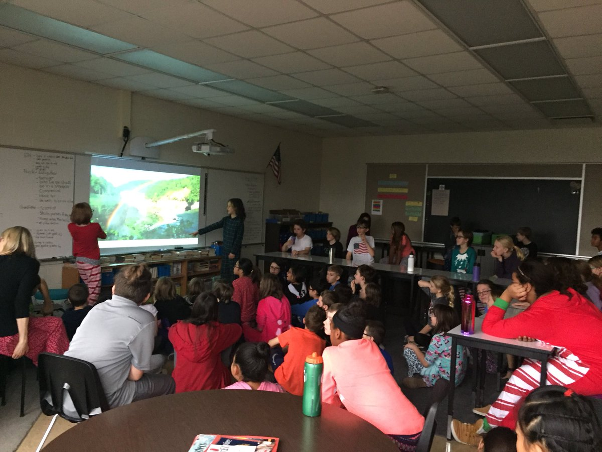Fifth grade presenting ideas for a class trip. Can't wait to see the voting results!