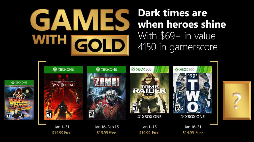 Xbox Live Games with Gold January 2018