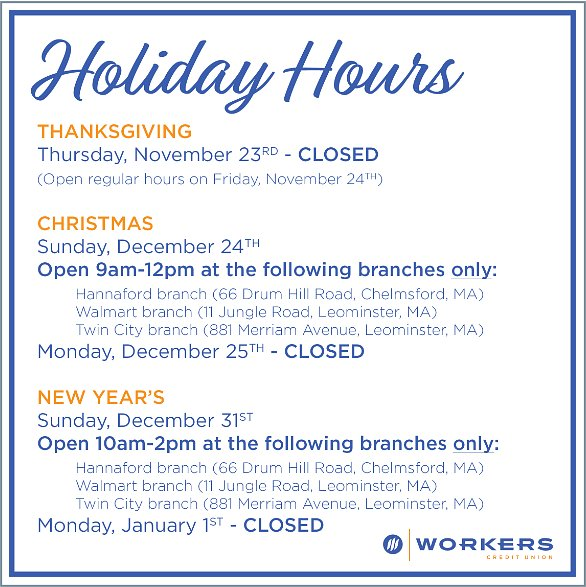 workerscu on twitter just a reminder of our holiday hours have a very happy holiday with your family and friends - Hannaford Christmas Hours