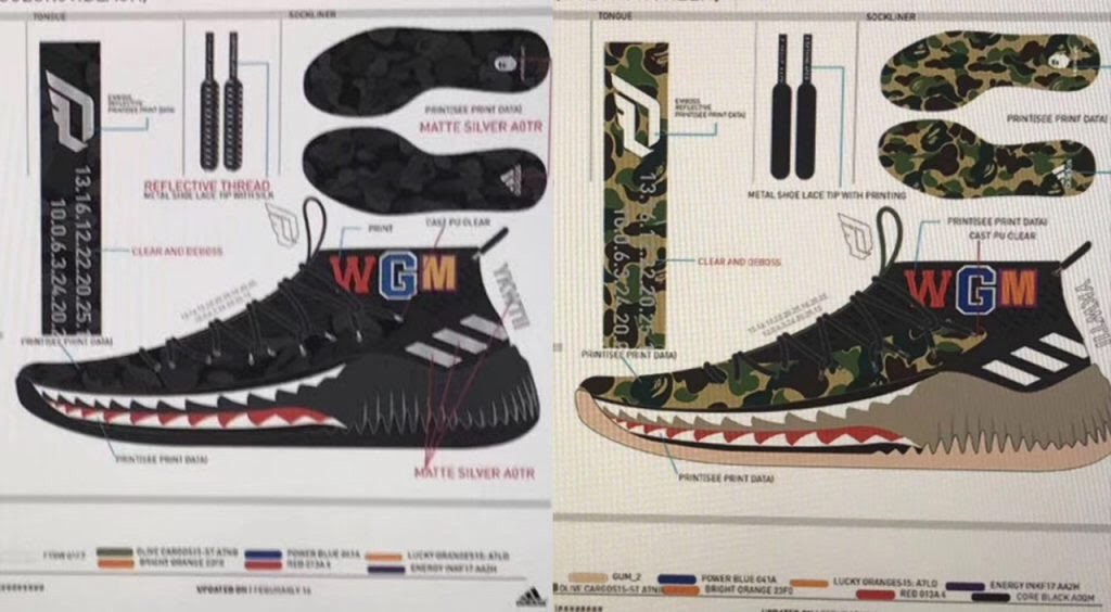 huge discount e01c4 a6551 Bape x Adidas Dame 4 - All Star Weekend 2018 AP9974 Green Camo 150  February 2018 AP9975 Black Camo 150 February 2018 A third colorway AND  hoodie are also ...