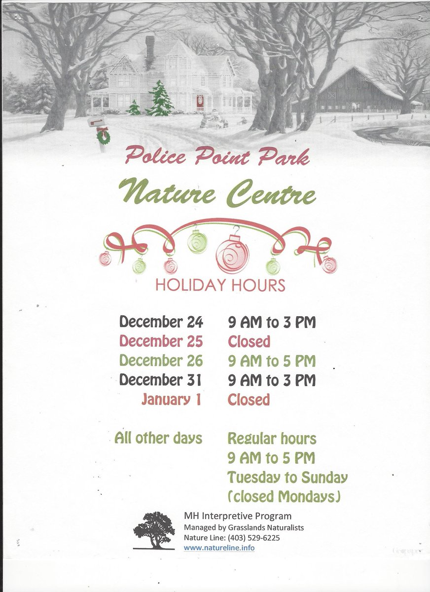 Police point park on twitter holiday hours at the nature centre 314 pm 22 dec 2017 from medicine hat alberta stopboris Gallery