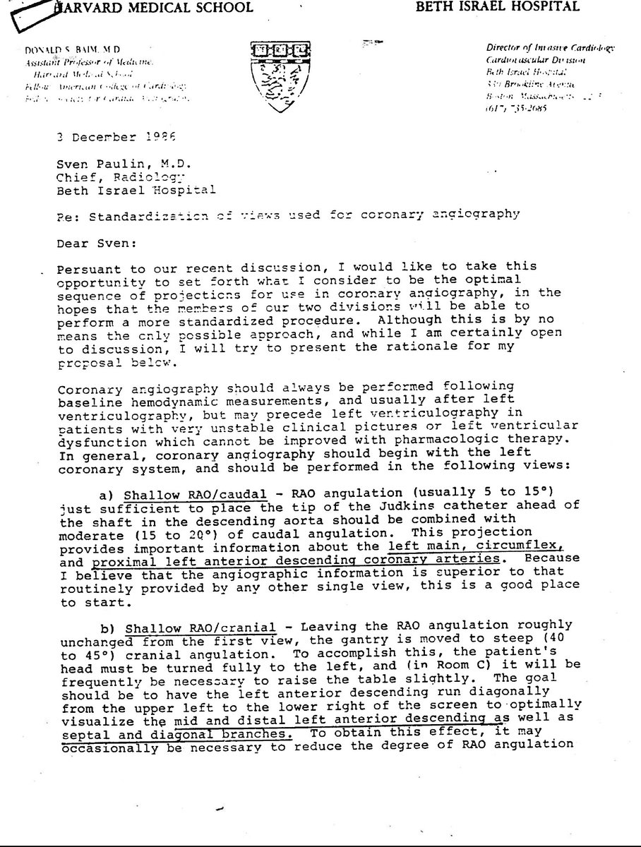 @CMichaelGibson @ajaykirtane @duanepinto @rwyeh @SVRaoMD A holiday gift to y'all; 31yrs ago the legend Don Baim sent this memo to the equally legendary Sven Paulin on performing angio- An historic moment in forgotten battle between IR + IC in coronary angiography! #baiminstitute