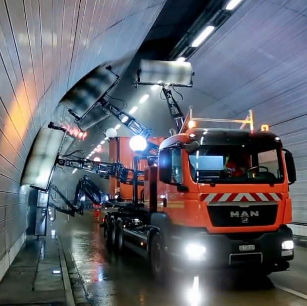 This truck is a tunnel-cleaning machine