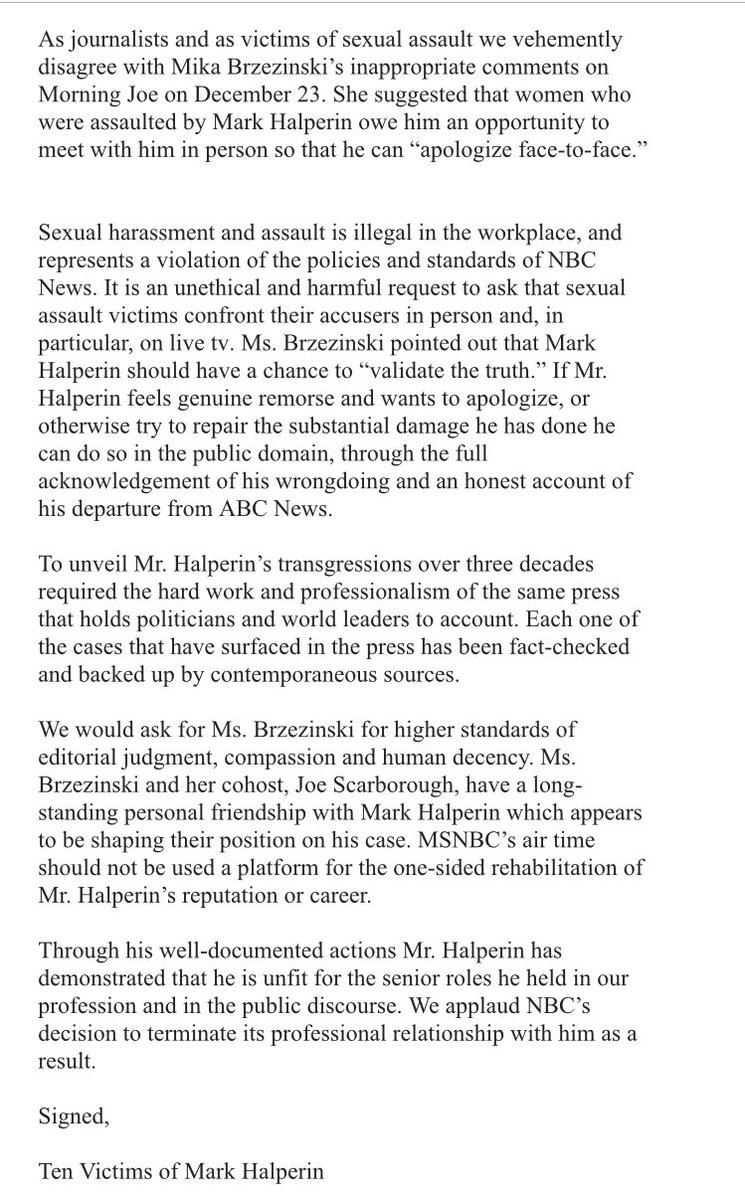 Just got this: Ten women who have accused Mark Halperin of sexual misconduct send statement to @MSNBC rebutting @morningmika's comments this morning about Halperin: