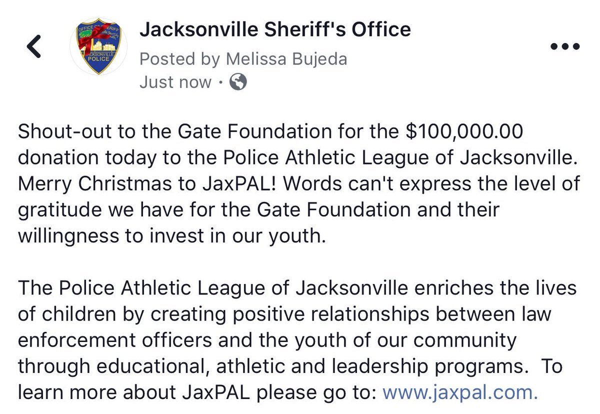 Merry Christmas to @JAX_PAL! #JSO can't express the level of gratitude we have for the Gate Foundation and their willingness to invest in our #JAX ...