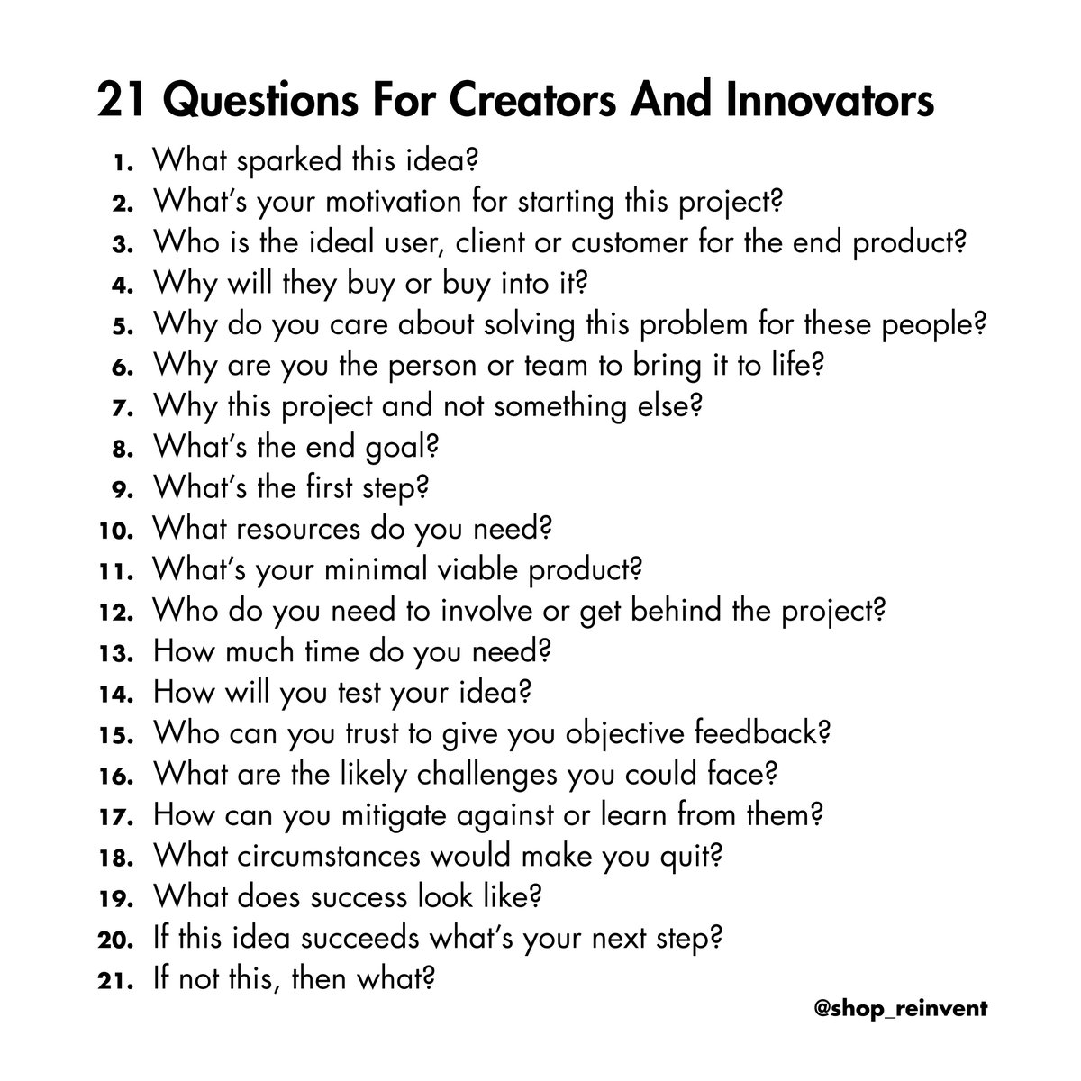 Pamela Sisson On Twitter 21 Questions For Creators And Innovators Creation Innovation Ideas Success Entrepreneur Goals Business Money Finance