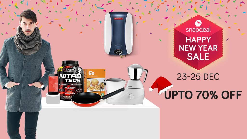 0d03a482824 The Snapdeal  HappyNewYear Sale begins today! Welcome 2018 with these  fantastic offers on an exciting range of products from 23rd to 25th  December! Shop ...