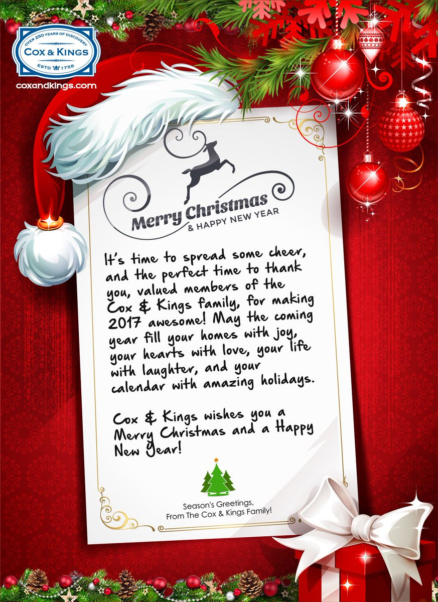 Cox Kings On Twitter Seasons Greetings To You May You Have A