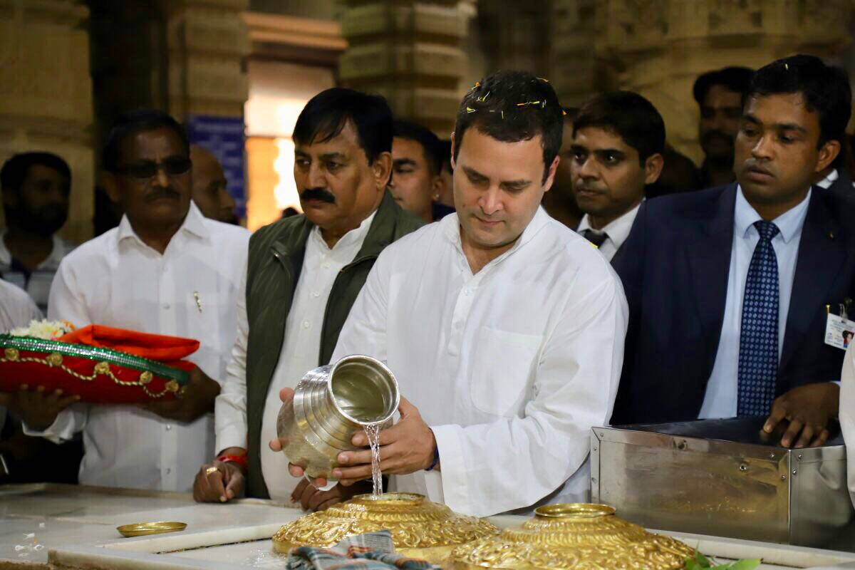 Rahul visits Somnath temple again sans controversy, no entry in non-Hindu register