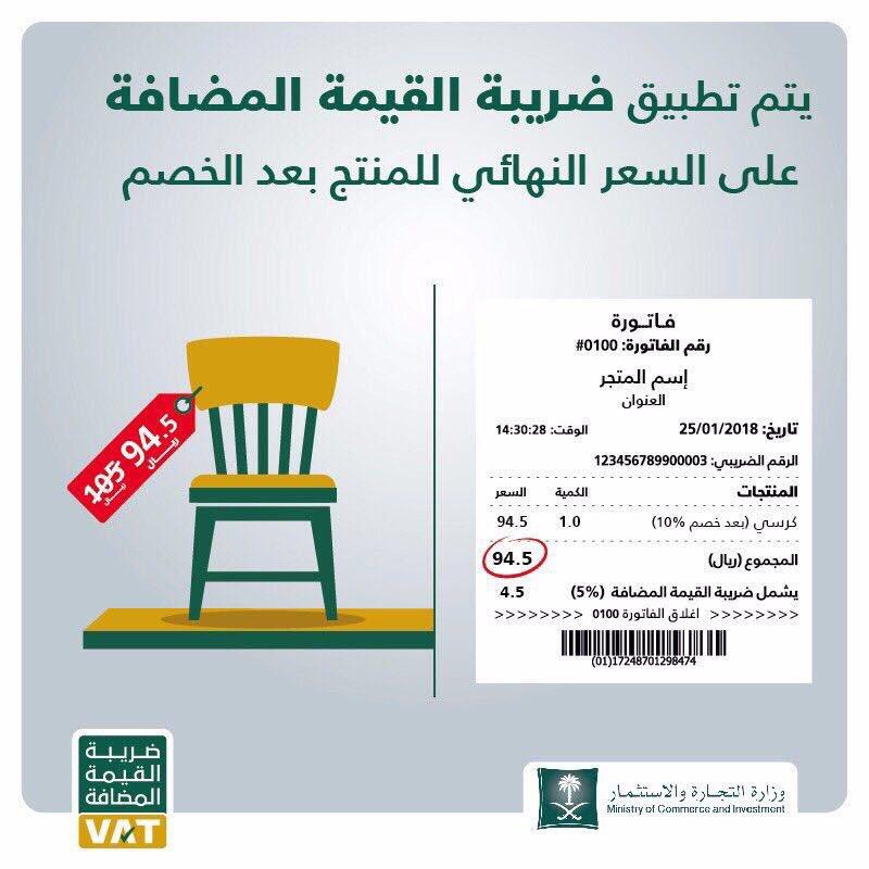 وزارة التجارة Auf Twitter تعرف على شكل الفاتورة بعد اضافة ضريبة القيمة المضافة تتم إضافة الضريبة على السعر النهائي للمنتج ويوضح مقدار الضريبة Https T Co Ci8eaqod0t